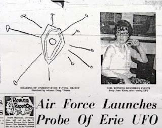 No dia 1º de agosto de 1966, o jornal Erie Morning News noticiou que um OVNI foi visto em Presque Isle State Park, na Pensilvânia, EUA. Uma mulher chamada Betty Klem disse ter visto uma forte luz que desceu à frente dela.