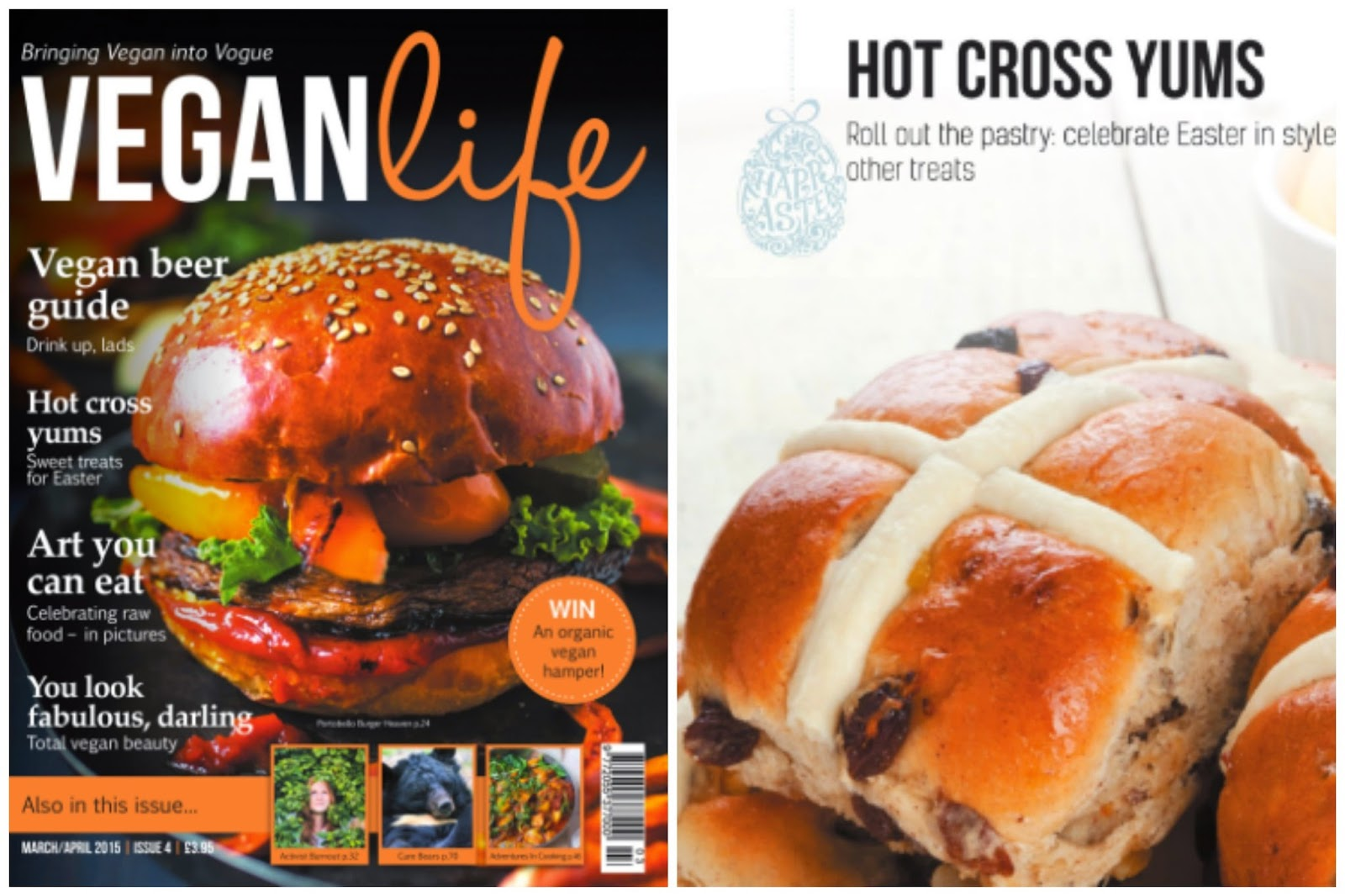 Vegan Sticky Hot Cross Buns Recipe, from Vegan Life Magazine Issue 4.  secondhandsusie.blogspot.co.uk