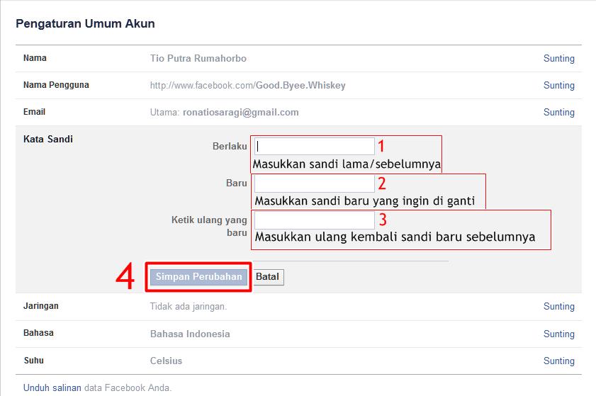 Cara Merubah Sandi Password Facebook Baru