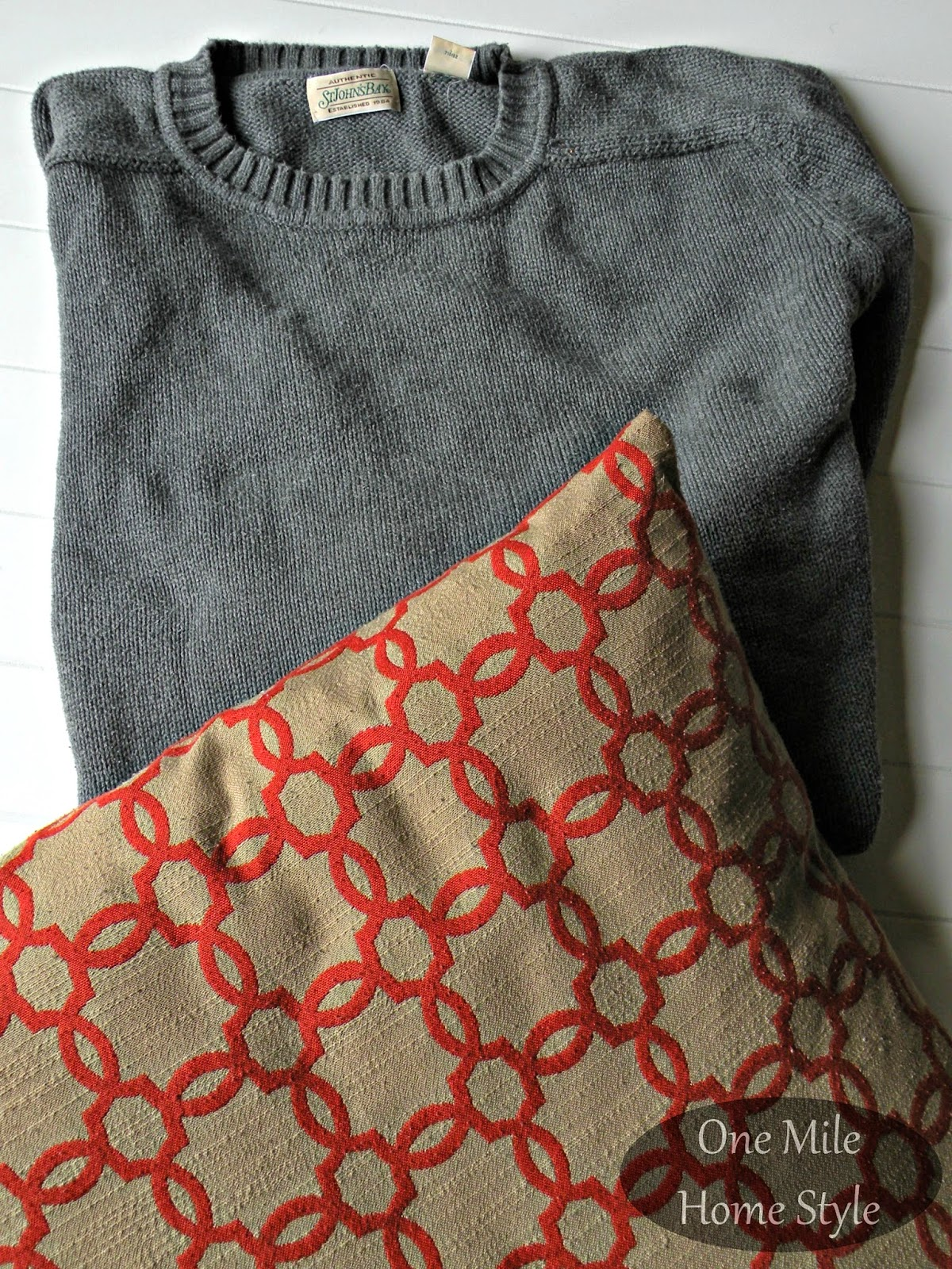 Pillow and thrifted sweater - easy sweater pillow DIY