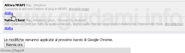 Abilitare plugin NPAPI Chrome 42