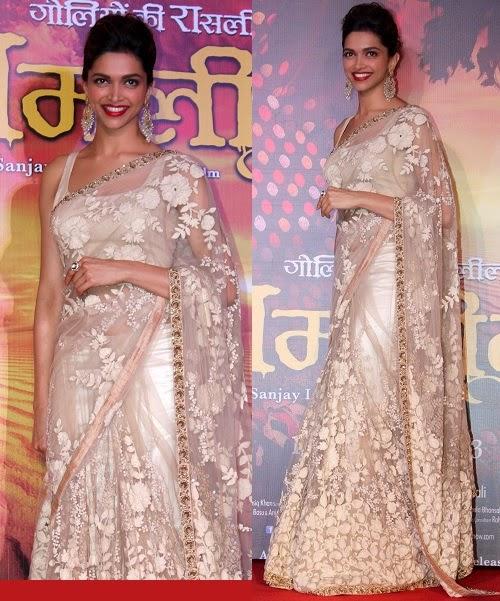 Sharp Deepika Padukone Cream Heavy Designer Saree