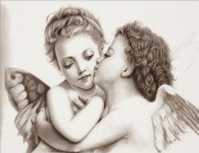 Чёрно-белые рисунки ангелов