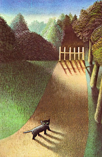 illustration of a cat by Maurice Sendak from his book the moon jumpers