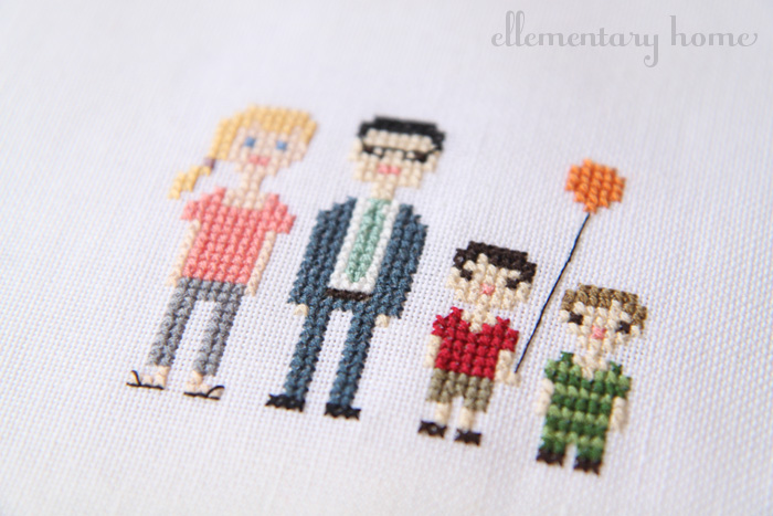 Ellementary Home Cross Stitch Family Portrait