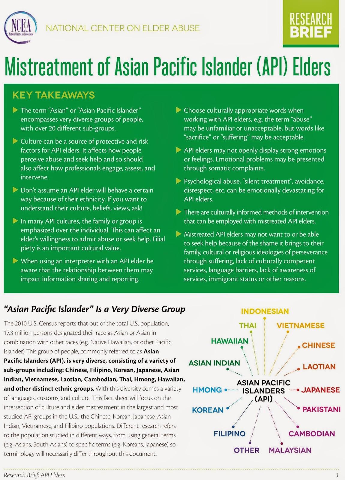 Read more on Mistreatment of Asian Pacific Islander (API) Elders