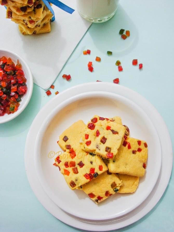 Eggless Tutti Frutti Cookies Recipe | How to make Tutti Frutti / Fruit Cookies