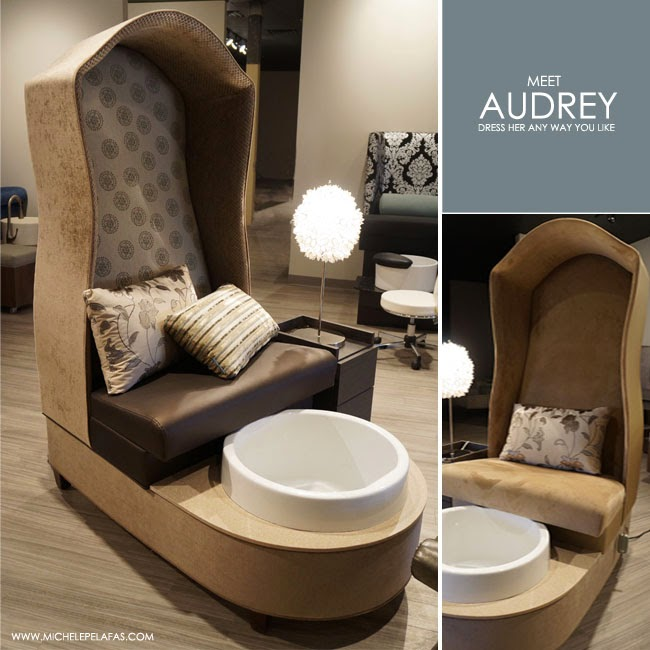 Michele pelafas new to market audrey pedicure chair for Nail salon benches