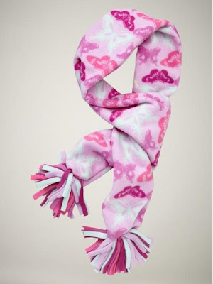 Fleece butterfly print pom scarf