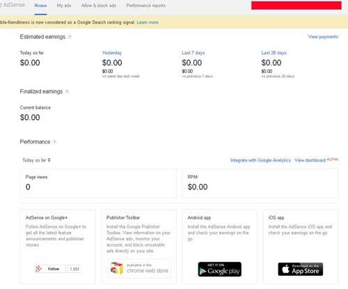 screenshot Akun Google Adsense yang masih baru dan siap pakai