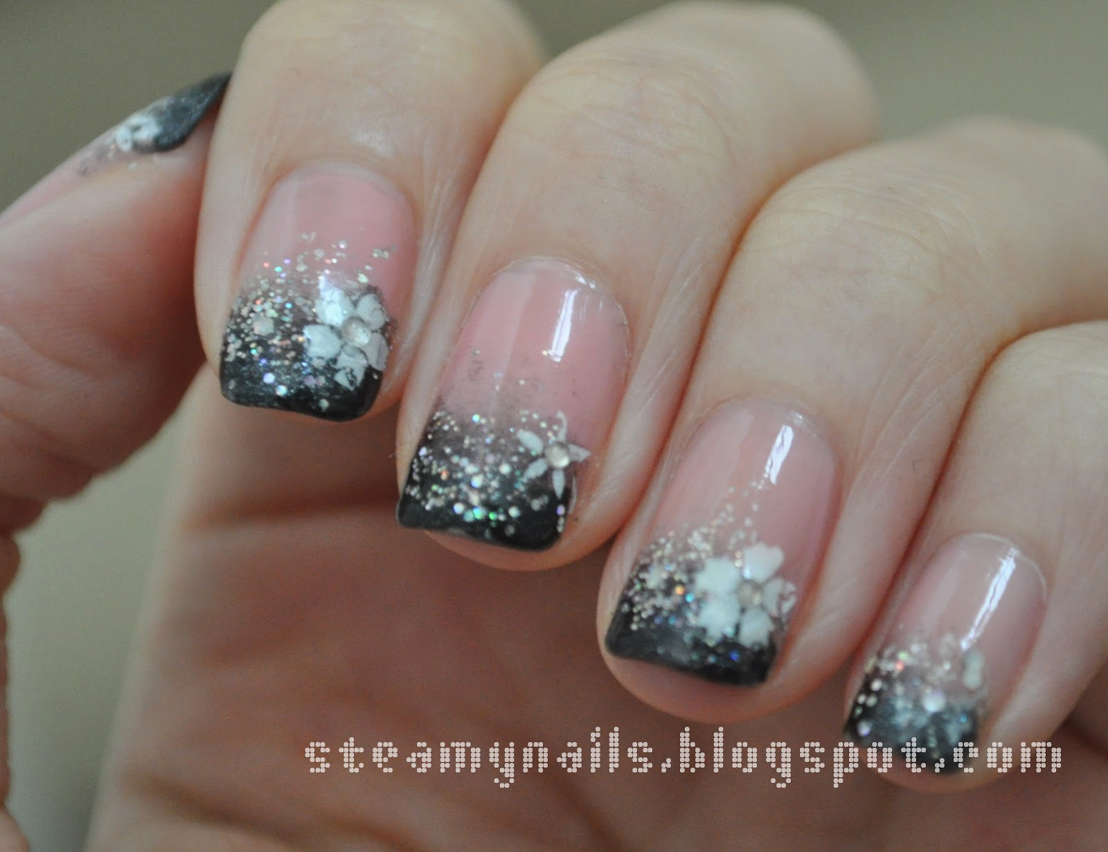 French Black nails with glitter best photo