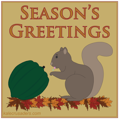 Season's Greetings: Acorn Squash, Squirrel, Autumn, Fall Leaves