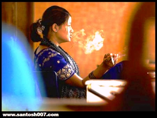 indian woman smoking in public