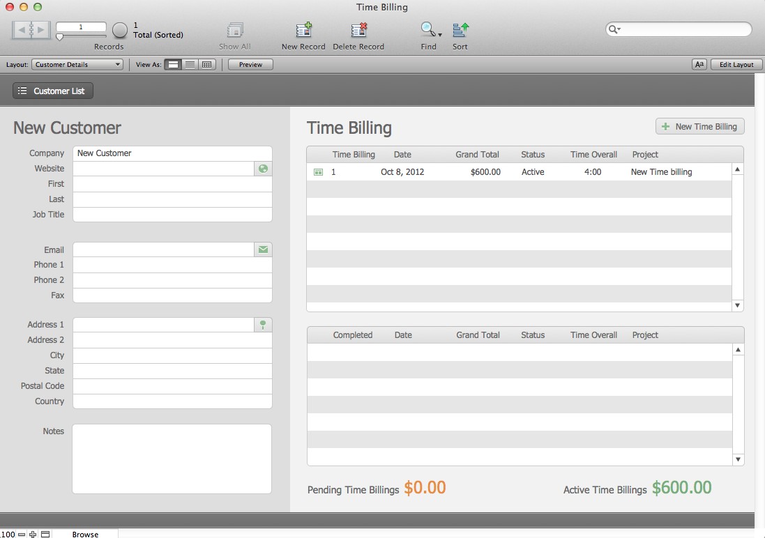 The mac office time billing filemaker pro 12 starter for Filemaker pro 12 templates