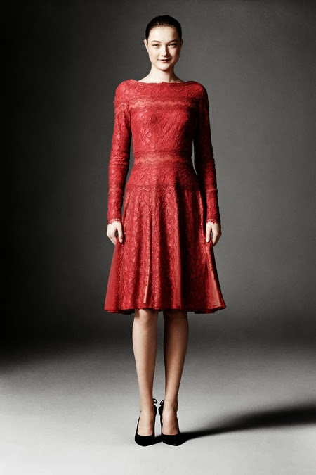 Modest red A-Line midi dress with long sleeves by Tadashi Shoji Mode-sty