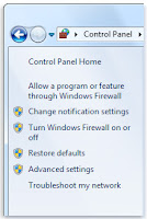 windows firewall setting