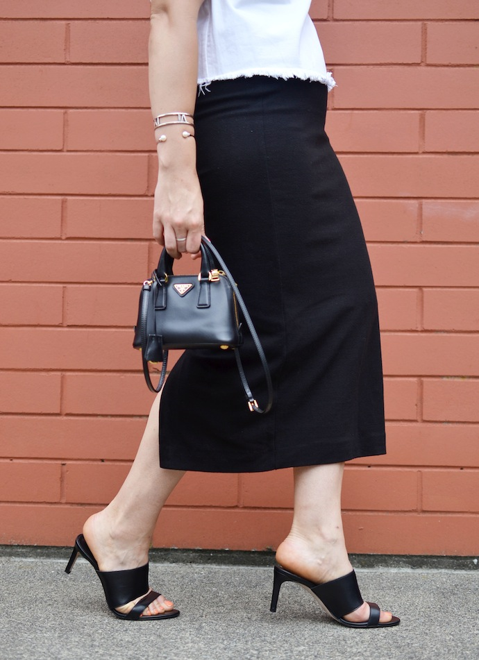 Le Chateau leather mules ponte skirt outfit