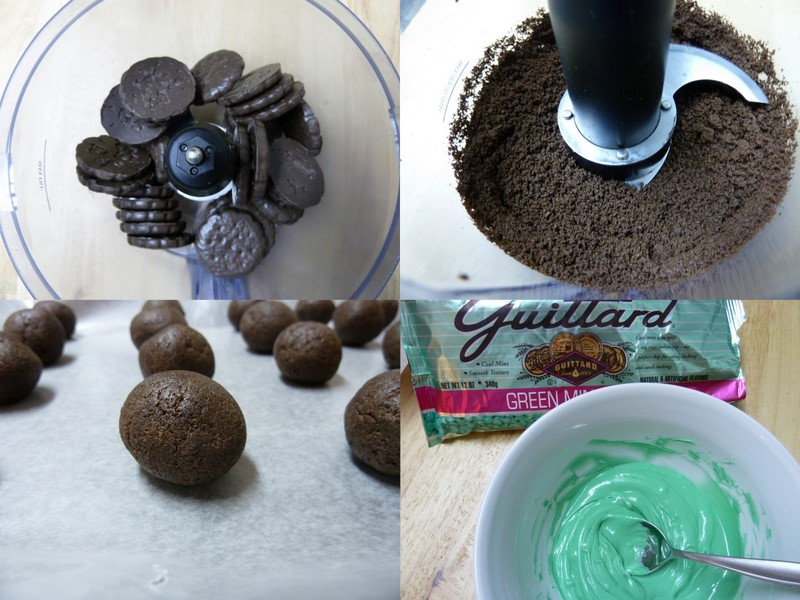 the truffles have been in the fridge for a while, melt the green mint ...