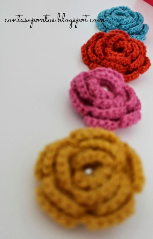 Rosas em crochet - alfinetes