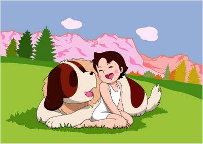 Dibujo de Heidi y su perro