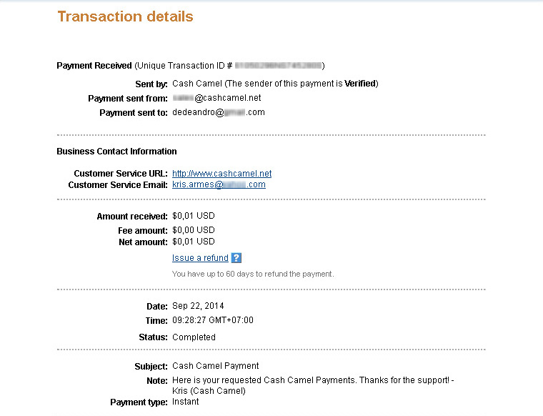 CashCamel Payment September 2014