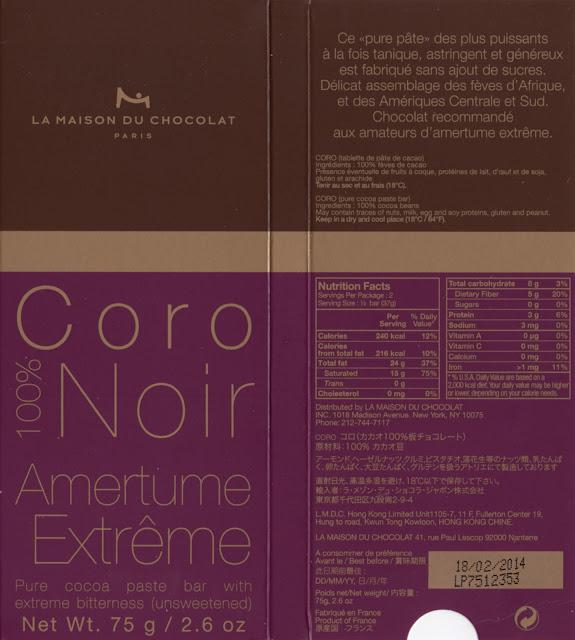 tablette de chocolat noir dégustation la maison du chocolat coro noir 100