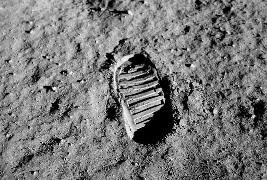 Lunar footprint of Buzz Aldrin in a photo taken by him on July 20 1969