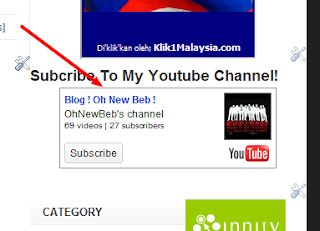 [Tutorial] Letak Youtube Akaun Widget Dekat Blog