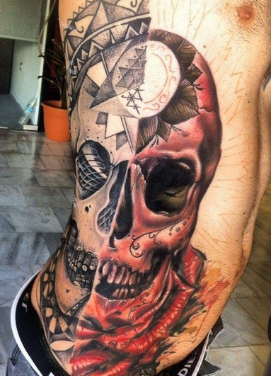 Cool idea of half skull half face tattoo on ribs