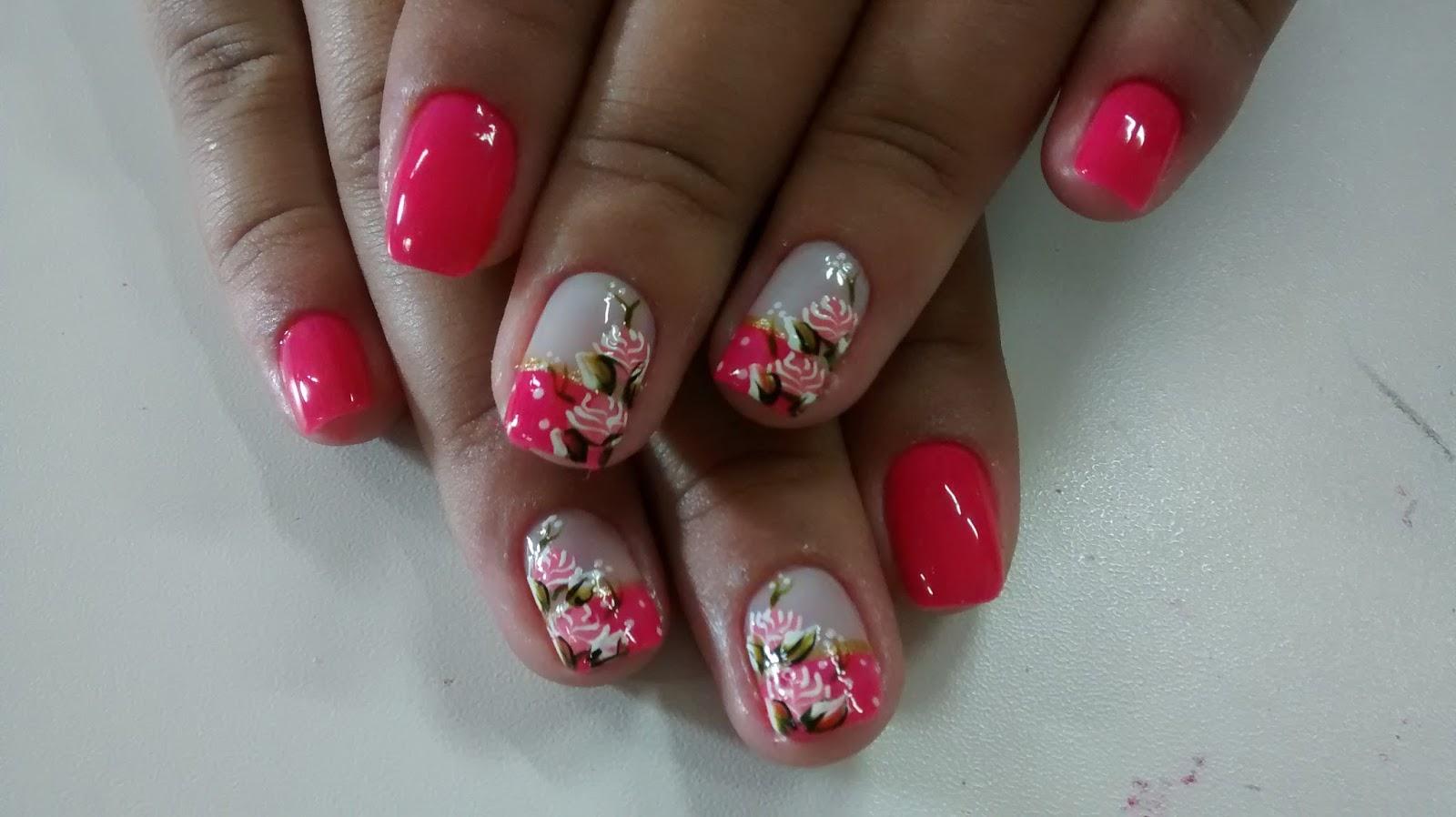 decoração nas unhas em tons de rosa ~ Decoração de Unhas
