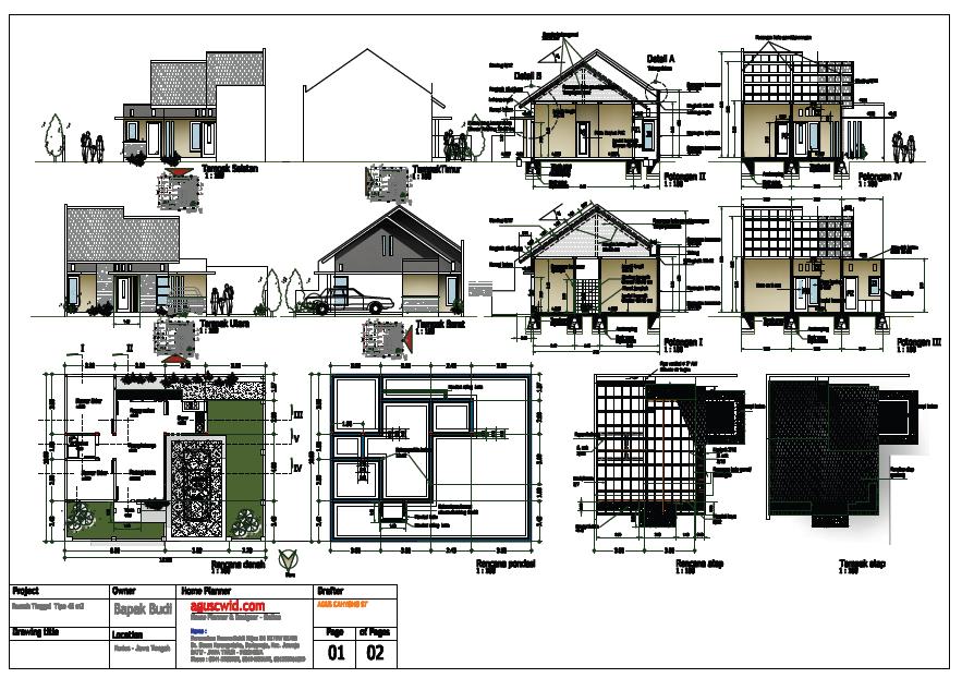 Denah Rumah Sederhana Beserta Potongan