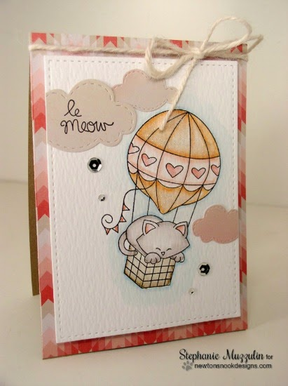 Le Meow Cat Card by Stephanie Muzzulin | Newton Dreams of Paris Stamp set by Newton's Nook Designs