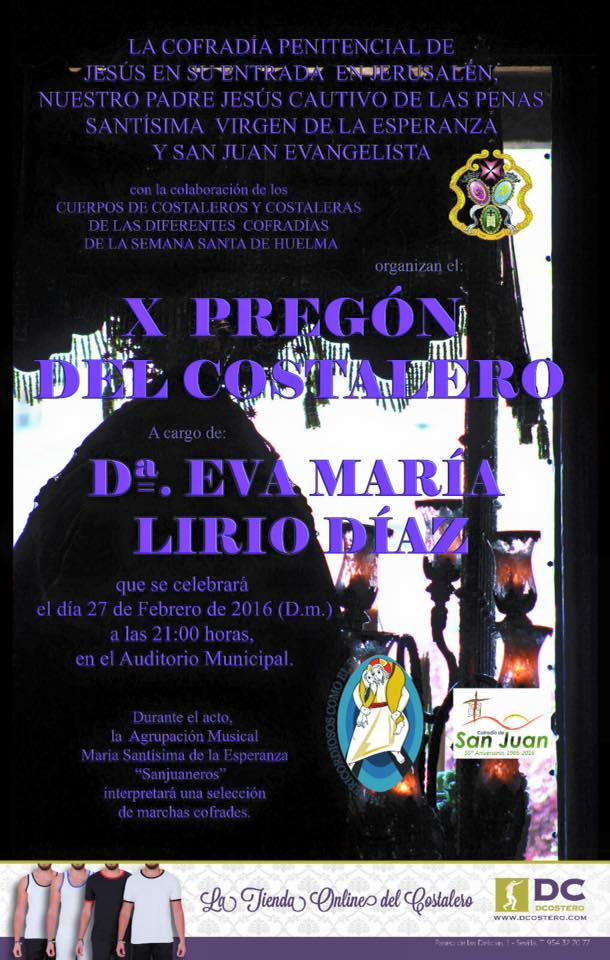 SÁBADO 27 DE FEBRERO. X PREGÓN DEL COSTALERO 2016