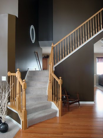 It Unveiled The Painting Transformation Of Our Grandeous Entryway And  Included These Two Photos Of Our Barey Bare Bare Staircase.