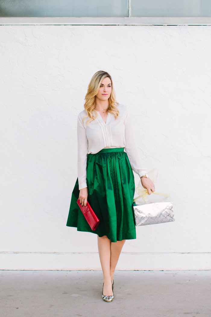 Green, Satin, Bel and Beau, Midi, Skirt, Glitter, Pumps, J.Crew, Joie, Silk, Blouse, Holidays, Christmas, Winter, Presents, YSL, Red, Patent, Clutch, Kate Spade, Watch, A Little Dash of Darling, Caitlin Lindquist, Fashion Blog, Street Style