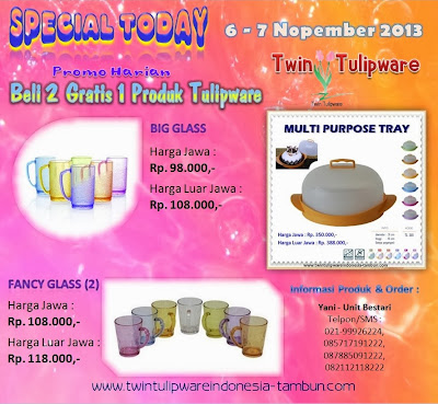 Promo Harian, Special Today, 2 Free 1 Tulipware Nopember 2013