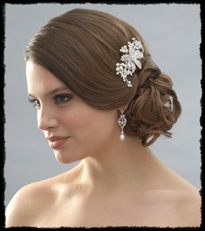 Dawn J's fashion wedding gown: bridal hairstyle and accessories