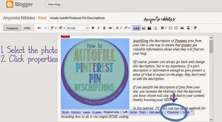 Steps 1 & 2 in autofilling Pinterest pin descriptions | Anyonita Nibbles