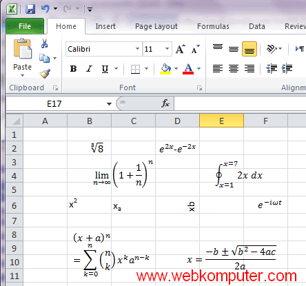 equation editor excel