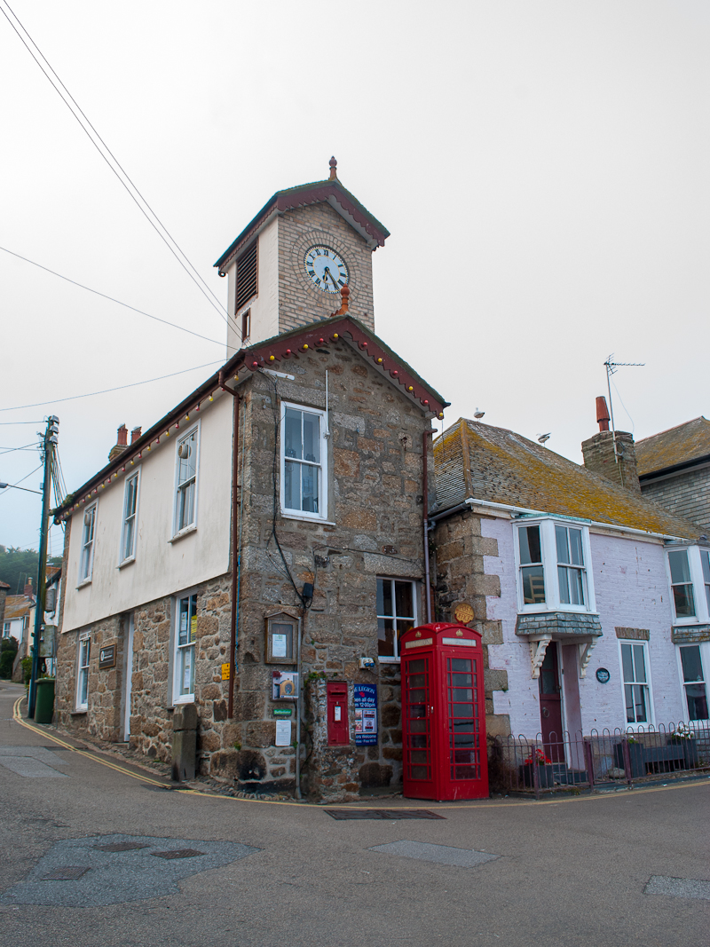 Clock tower in newlyn cornwall, england