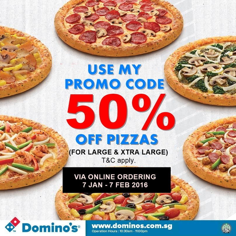 Enjoy 50 off domino 39 s pizza today valid till 7 feb for Domino pizza