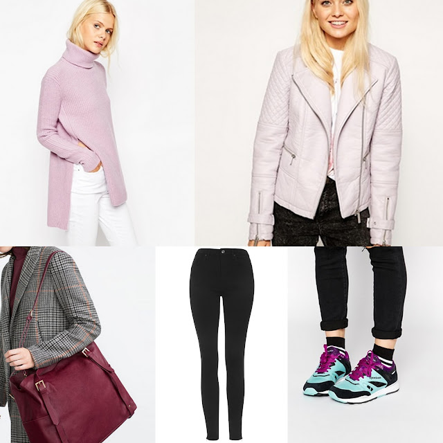 Lilac jumper and leather jacket, red bag and bright blue trainers.