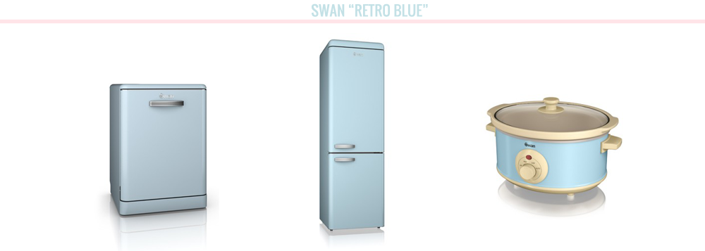home bloggers, home, home wishlist, Swan appliances, retro blue swan, fridge freezer, dishwasher, slow cooker pastel blue