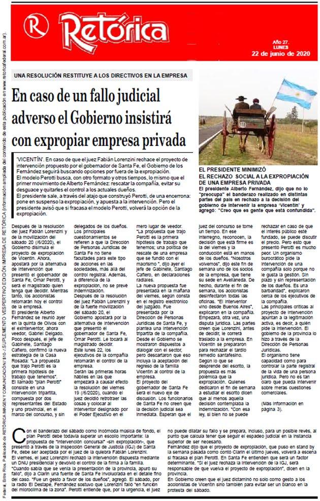 RETÓRICA EDICIÓN IMPRESA DEL 22-6-2020