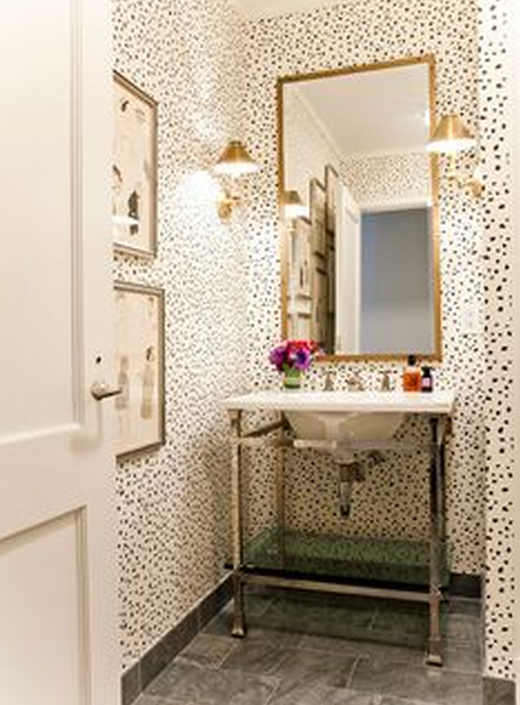 I M In Love With This Playfully Spotted Classic Powder Room