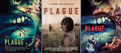 """Alcuni poster di """"Plague"""" (al centro quello """"ufficiale"""")"""