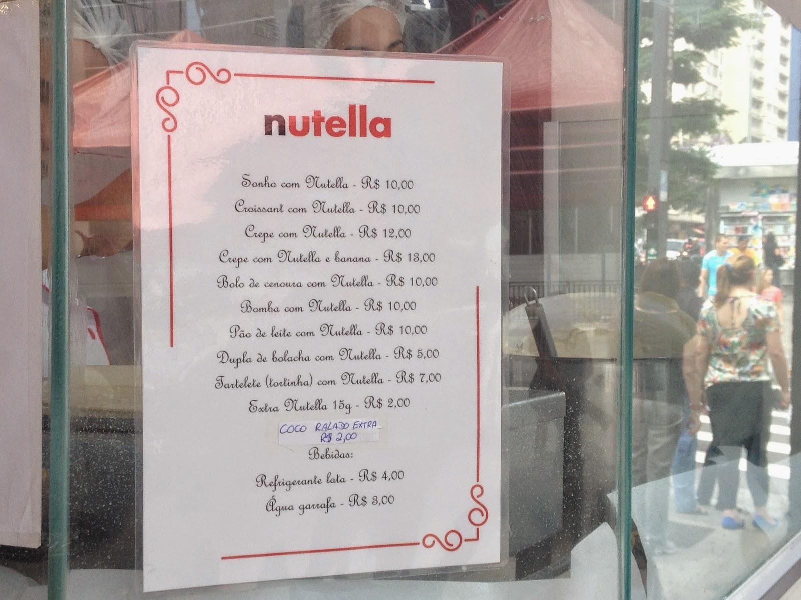 Nutella, Quiosque, paulista, degusta, comida, food, atração, petiscos, barato