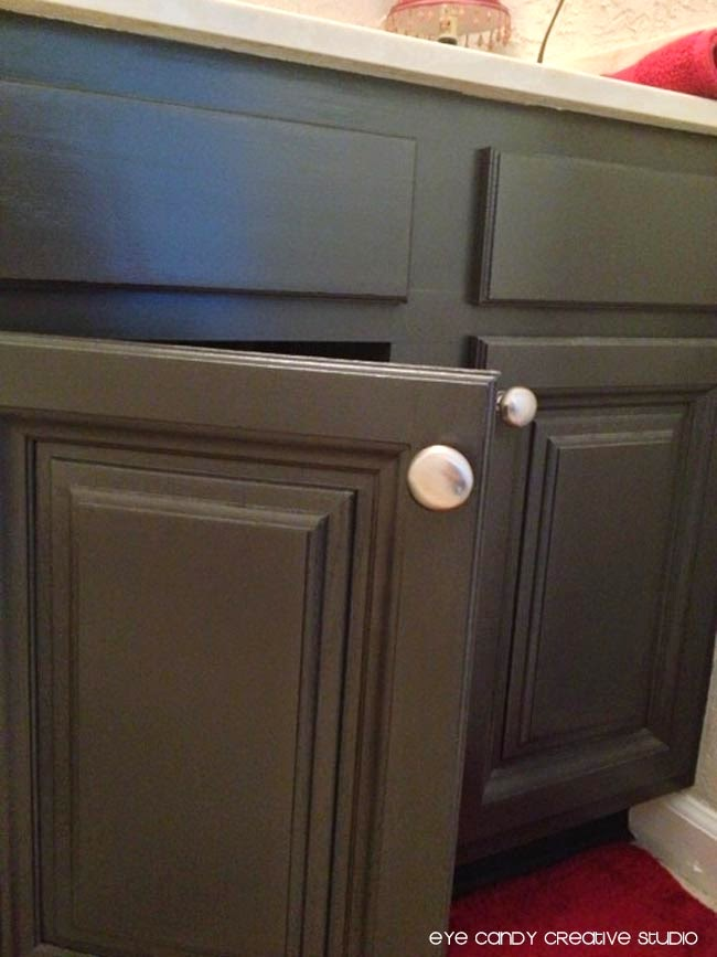 new hardware for bathroom cabinets, brushed silver knobs, Target