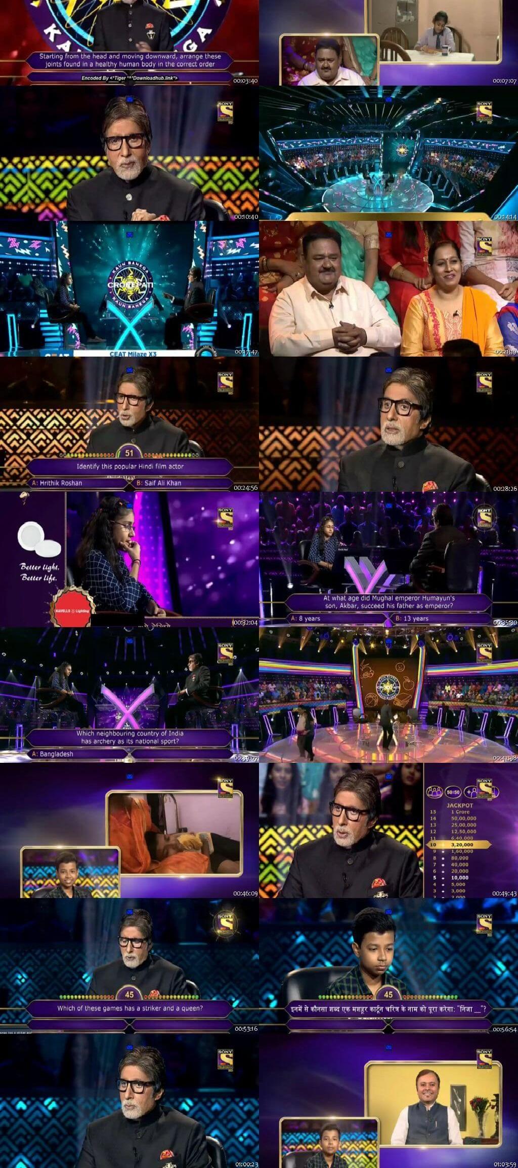 Screenshots Of Hindi Show Kaun Banega Crorepati Season 10 2018 15th November 300MB 480P HD