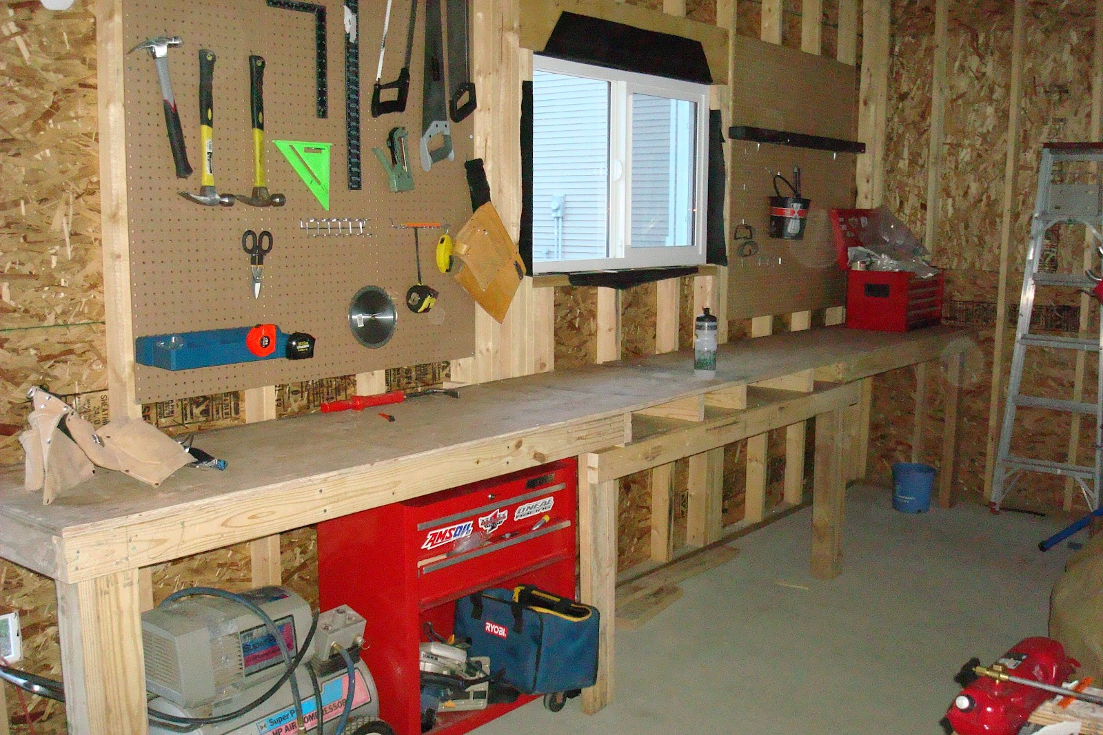 From needles to nails workbench from reclaimed wood for Diy garage plans